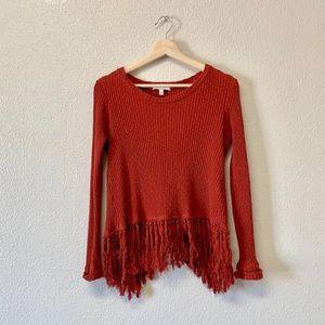 Anthropologie Eri + Ali Fringe Cross Back Sweater